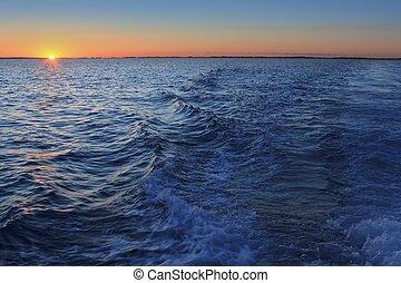 mar mediterrâneo, pôr do sol, horizonte, sol alaranjado