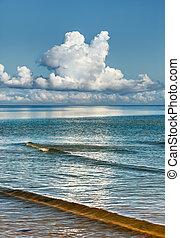 mar, nuvens, azul, céu