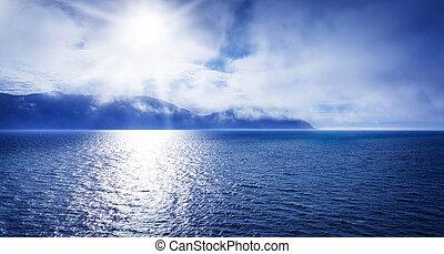 mar, océano, sol
