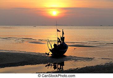mar, ocaso, con, barco