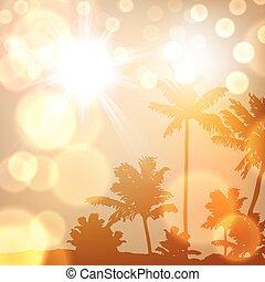 mar, ocaso, con, isla, y, árboles de palma