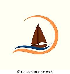 mar, onda, desenho, ilustração, vetorial, bote