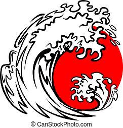 mar, onda, e, sol vermelho
