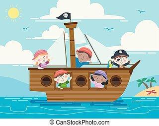 mar, onda, navio, crianças, ilustração, pirata