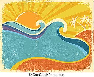 mar, ondas, cartaz, com, palms., vindima, ilustração, de,...