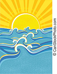 mar, ondas, e, amarela, sun.vector, illustraction