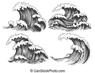 mar, ondas, esboço, jogo