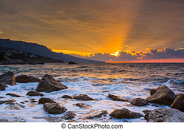 mar, ondas, lash, linha, impacto, rocha, praia, com, bonito,...