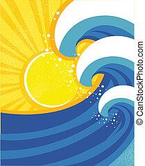 mar, ondas, poster., vector, ilustración, de, mar, paisaje.