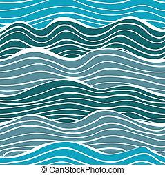 mar, ondas, seamless, patrón