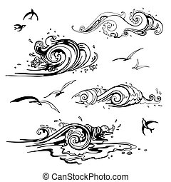 mar, ondas, set., mão, desenhado, vetorial, illustration.