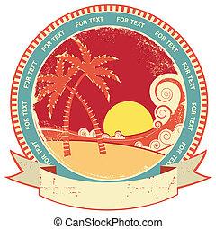 mar, ondas, y, island., vector, vendimia, gráfico,...