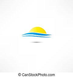 mar, ondas, y, sol creciente, vector, ilustración