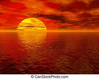 mar, pôr do sol