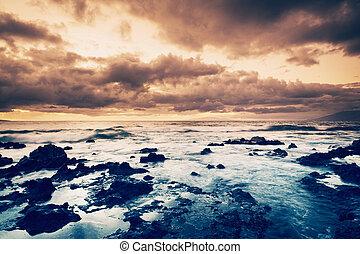 mar, pôr do sol, tempestade, oceânicos