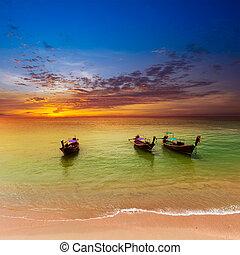 mar, paisagem, fundo, natureza
