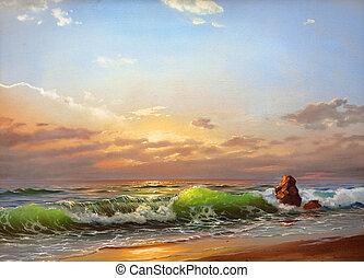 mar, paisagem, ligado, um, pôr do sol