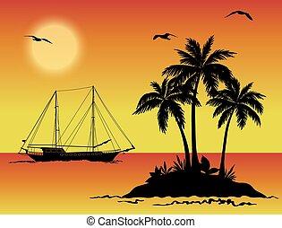mar, paisaje, con, palmas, y, barco, siluetas