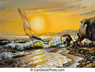 mar, paisaje, con, un, velero