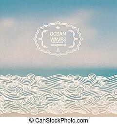 mar, paisaje, y, bosquejo, ondas