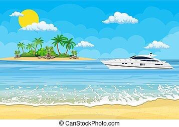 mar, paraíso, yates, playa