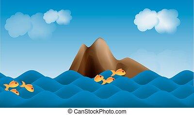 mar, parallax, fundo