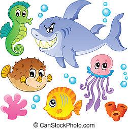 mar, peces, y, animales, colección, 4