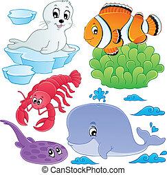 mar, peces, y, animales, colección, 5