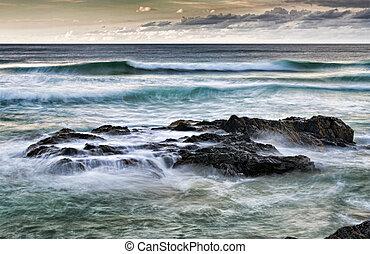 mar, pedras