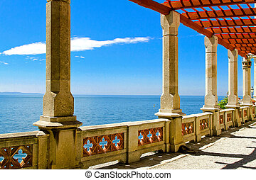 mar, pilares, vista