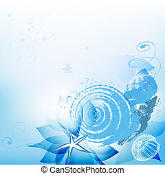 mar, plano de fondo, con, conchas