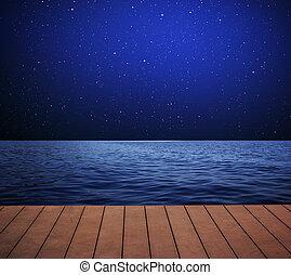mar, por la noche, con, stars.
