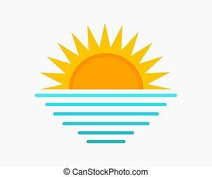 mar, símbolo., sol