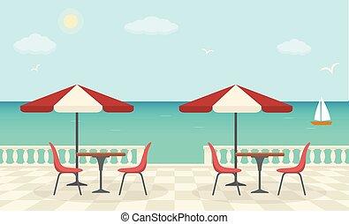 mar, sea., terraza, paisaje., café