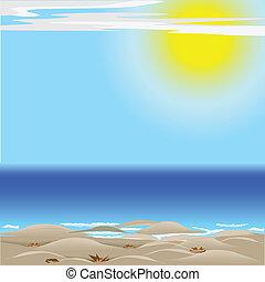 mar, sol, e, areia
