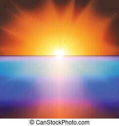 mar, sol, luminoso, vetorial, pôr do sol, fundo
