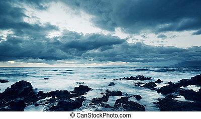 mar, tempestade, oceânicos