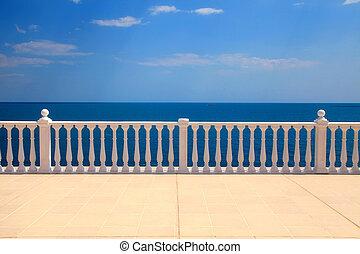 mar, terraço, negligenciar, balaustrada