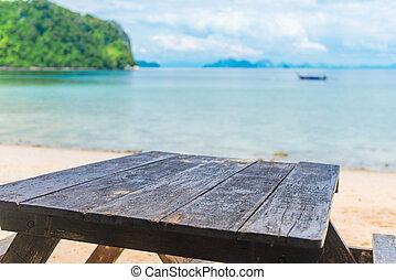 mar, topo madeira, objetos, fundo, tabela, seu