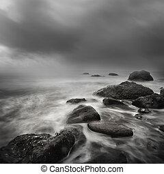 mar, tormenta, exposición larga