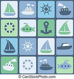 mar, transport., seamless, vector, en, retro, colores