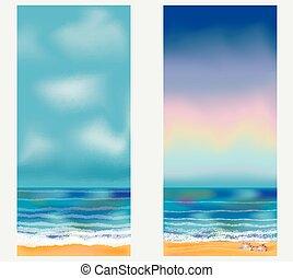 mar, tropical, banderas, vector, ilustración