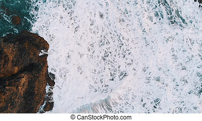 mar, turquesa, longo, fauna, vista, ondas, espuma, zangão, lote