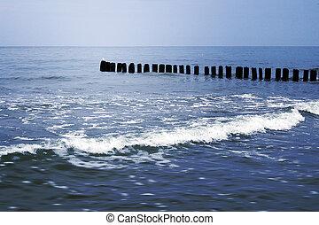 mar, verão, fundo