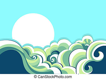 mar, waves., vendimia, ilustración, de, mar, paisaje