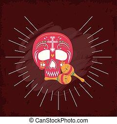maracas and head skull mexican culture