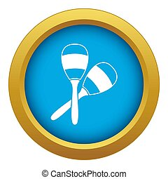Maracas icon blue isolated