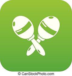 Maracas icon green vector