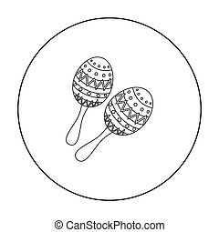 Maracas icon in outline style isolated on white background. Musical instruments symbol stock vector illustration