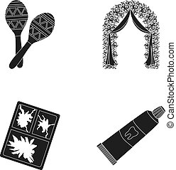 Maracas, the arch for the ceremony and other web icon in black style. broken glass, toothpaste icons in set collection.